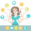 Woman Multitasking — Stock Vector #14837255