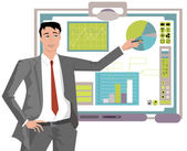 Business Man Making Presentation — Stock Vector