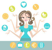 Woman Multitasking — Stock Vector