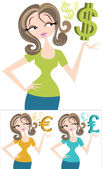 Money Woman — Stock Vector