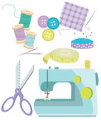 Sewing Items — Stock Vector