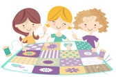 Girls sewing together — Stock Vector