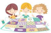 Meisjes samen naaien — Stockvector