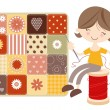 Craft Girl with Patchwork Quilt - Stock Vector