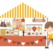Crafts- Market /Craft fair with stall holder — Imagens vectoriais em stock