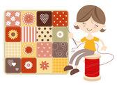 Chica de artesanía con colcha de retazos — Vector de stock
