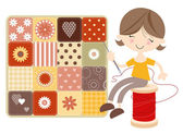 Craft Girl with Patchwork Quilt — Stockvector