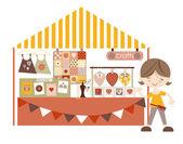 Crafts- Market /Craft fair with stall holder — Stok Vektör