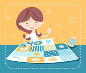 Girl sewing patchwork quilt — Vector de stock