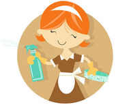 Happy Maid in uniform cleaning — Stock Vector