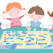 Stock Vector: Kids Playing Traditional Board Game