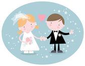 Söta bröllop par — Stockvektor