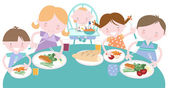 Family Having Food Together — Stock Vector