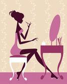 Mujer aplicar maquillaje — Vector de stock