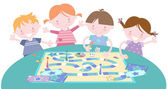 Kids Playing Traditional Board Game — Stock Vector