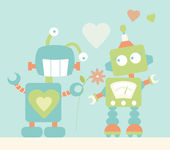 Cute Robots in Love — Stock Vector