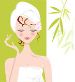 Spa Girl relaxing with Towel Wrap — Stock Vector