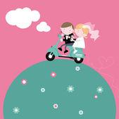 Mariée et le marié sur scooter — Vecteur