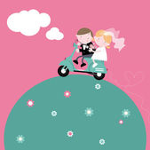 Bride and Groom on Scooter — Stock Vector