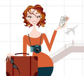 Woman going on Vacation- Airport Background — Stock Vector