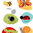 Bugs, Insects set cute characters — Stock Vector