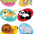 Stock Vector: Jungle animals