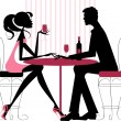 Couple sharing romantic dinner — Stock Vector #18796717