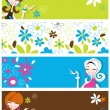 Fun banners featuring retro styled flirty girls and flowers - Stok Vektör