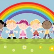 Rainbow and kids in a row — Stock Vector