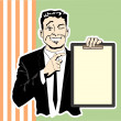 Stock Vector: Clipboard guy