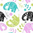 Funky patterned elephant - Stock Vector