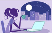 Girl working late on her laptop — Stock Vector