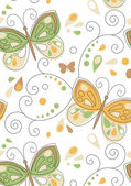 Retro butterfly seamless tile pattern — Stock Vector