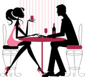 Couple sharing romantic dinner — Stock Vector