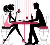 çift paylaşım romantik akşam yemeği — Stok Vektör