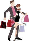 Happy Shopping Couple — Stock Vector