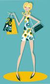 Happy shopping girl — Stockvektor