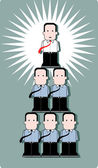 Business man standing at the top of human pyramid — Stock Vector