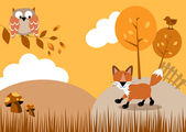 Woodland scene — Vector de stock