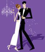 Sposa e sposo sposi — Vettoriale Stock