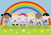 Arcobaleno e i ragazzi in fila — Vettoriale Stock