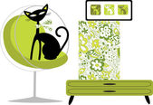 Cat palace-green — Stock Vector