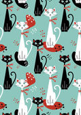 Retro cat seamless pattern — Stock Vector