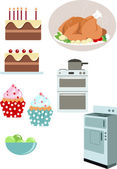 Cooking and baking elements — Stock Vector