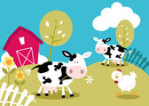 Cute Farm Animals — Stock Vector