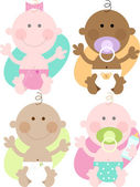 Cuatro bebés — Vector de stock