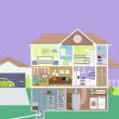 Stock Vector: Cutaway of House