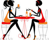 Women meeting up for a drink — Stock Vector