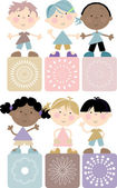 Friends-Cute kids holding hands -multi cultural — Stock Vector