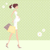 Chic Pregnant Woman Shopping — Stock Vector